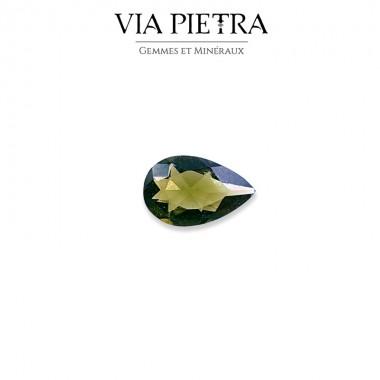 Moldavite facettée gemme République Tchèque, roche vitrifiée, tectite verte