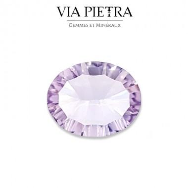 Améthyste rose de France naturelle Brésil, taille gemme, joaillerie, bijouterie, lithothérapie, taille concave