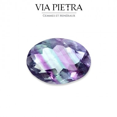 Fluorite / Fluorine bicolore, arc-en-ciel, violet, vert, jaune, lithothérapie