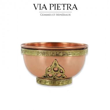 Petit bol offrande cuivre Triquetra, thème Wicca / Celtique / Gothique / Sorcière / Magie / Esotérisme
