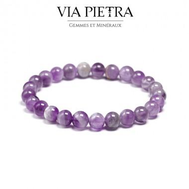 Bracelet Améthyste lithothérapie, propriété, vertu, litho, bien être, bienfait, soin par les pierres