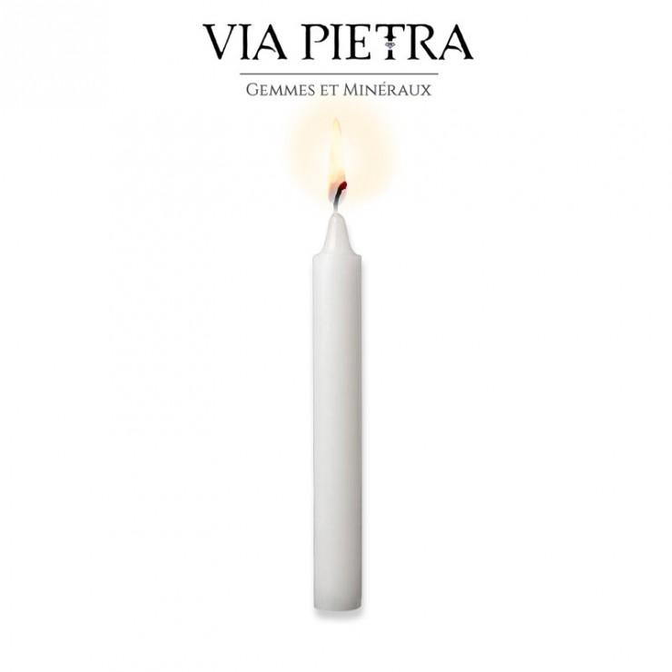 Bougie teintée dans la masse, coloris blanc. Bougie rituel ésotérique, bougie protection et méditation, bougie clairvoyance