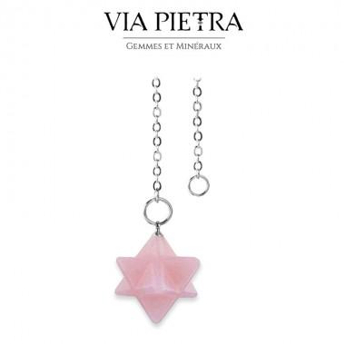 Pendule Merkaba Quartz rose, radiesthésie, divinatoire
