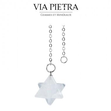 Pendule Merkaba cristal de roche, radiesthésie, divinatoire