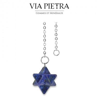 Pendule Merkaba Lapis-lazuli, radiesthésie, divinatoire