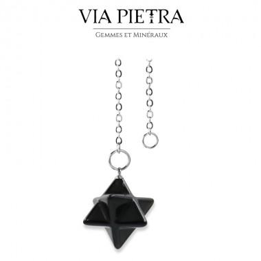 Pendule Merkaba pierre noire, radiesthésie, divinatoire