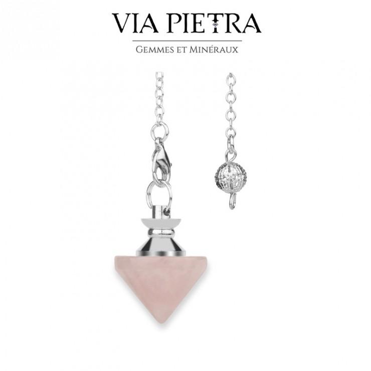 Pendule toupie radiesthésie en Quartz rose, pierre naturelle pendule