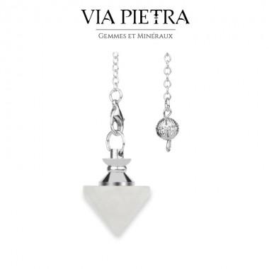 Pendule toupie radiesthésie en Quartz Cristal de Roche, pierre naturelle pendule