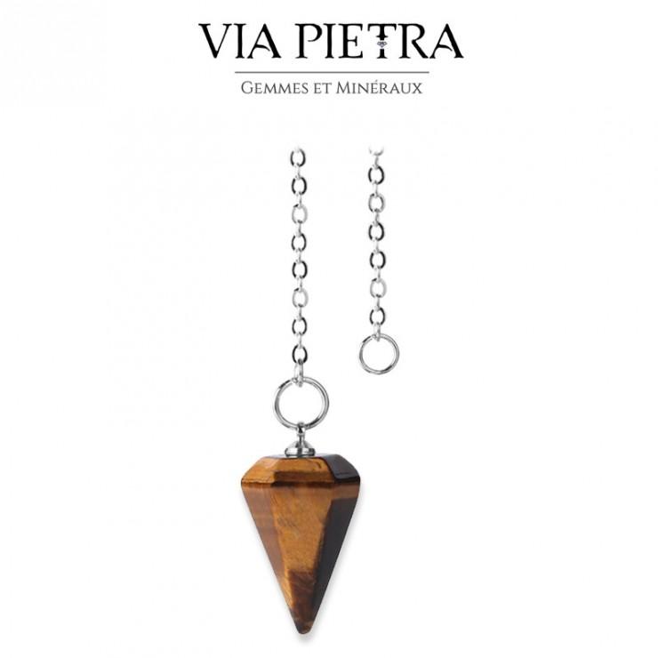 Pendule cône radiesthésie en Œil-de-Tigre, pierre naturelle pendule