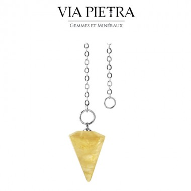 Pendule cône radiesthésie en Quartz Hématoïde, pierre naturelle pendule