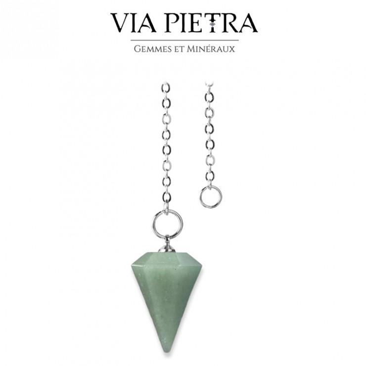 Pendule cône radiesthésie en Aventurine, pierre naturelle pendule