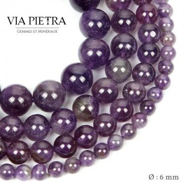 Perles améthyste création, perles améthyste 6mm, perles en pierre naturelle
