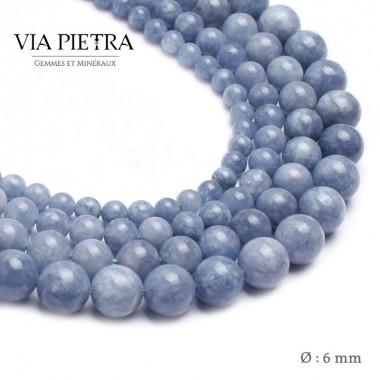 Perles angélite création, perles angélite 6mm, perles en pierre naturelle