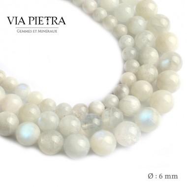 Perles Pierre de Lune création, perles pierre de lune péristérite 6mm, perles en pierre naturelle