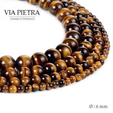 Perles Oeil de tigre création, perles oeil de tigre protection 6mm, perles en pierre naturelle