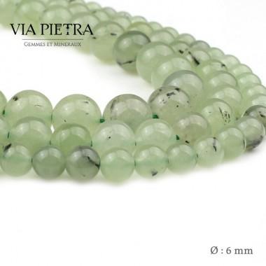 Perles Prehnite création, perles prehnite 6mm, perles en pierre naturelle