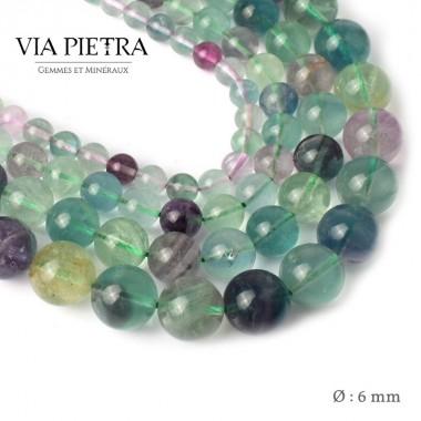 Perles Fluorite Fluorine création, perles Fluorite 6mm, perles en pierre naturelle