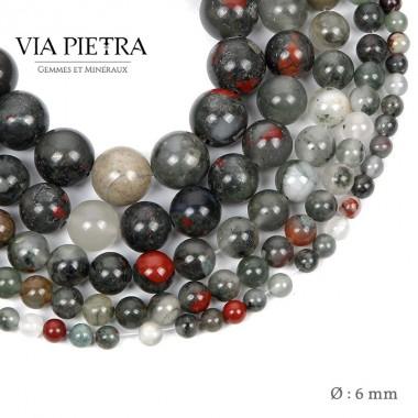 Perles Jaspe sang création, perles jaspe bloodstone 6mm, perles en pierre naturelle