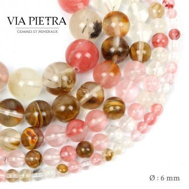Perles Quartz Cerise création, perles Quartz cerise 6mm, perles en pierre naturelle