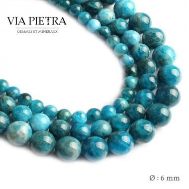 Perles Apatite bleue création, perles Apatite bleue paraiba 6mm, perles en pierre naturelle