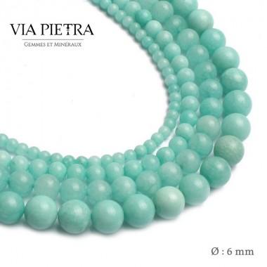 Perles Amazonite création, perles Amazonite verte bleue 6mm, perles en pierre naturelle