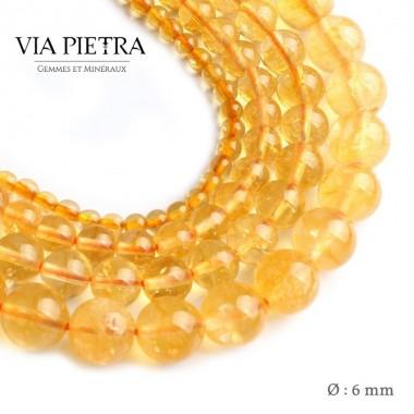 Perles citrine jaune création, perles citrine chauffée jaune 6mm, perles en pierre naturelle