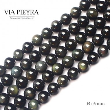 Perles obsidienne oeil céleste création, perles obsidienne rainbow 6mm, perles en pierre naturelle