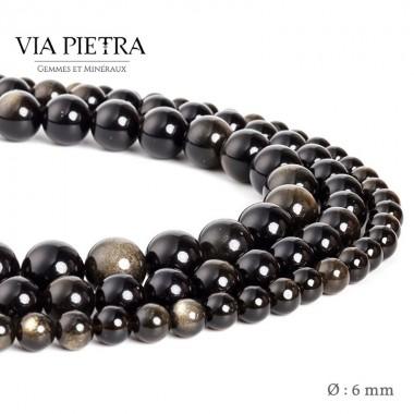 Perles obsidienne dorée création, perles obsidienne or gold 6mm, perles en pierre naturelle