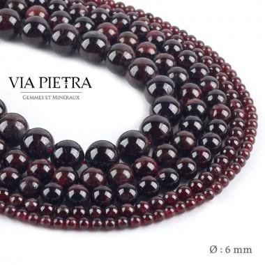 Perles Grenat rouge création, perles grenat rouge foncé 6mm, perles en pierre naturelle