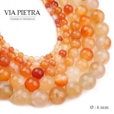 Perles Cornaline création, perles Cornaline orange rouge 6mm, perles en pierre naturelle