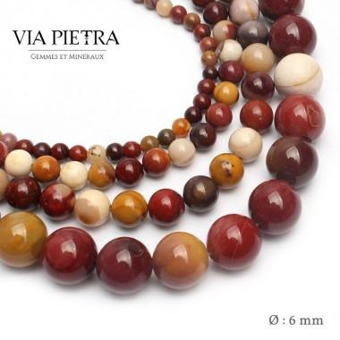 Perles Jaspe Mokaïte création, perles Jaspe mookaite 6mm, perles en pierre naturelle