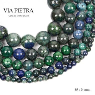 Perles Azurite Malachite création, perles Malachite foncé 6mm, perles en pierre naturelle