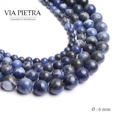 Perles Sodalite création, perles Sodalite bleue 6mm, perles en pierre naturelle