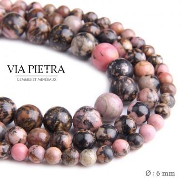 Perles Rhodonite création, perles Rhodonite rose 6mm, perles en pierre naturelle