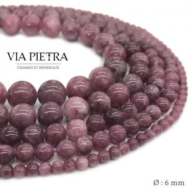 Perles Lépidolite création, perles Lépidolite rose orange rouge 6mm, perles en pierre naturelle