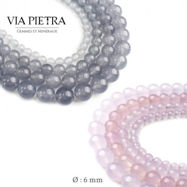 Perles Calcédoine gris et rose création, perles Calcédoine 6mm, perles en pierre naturelle