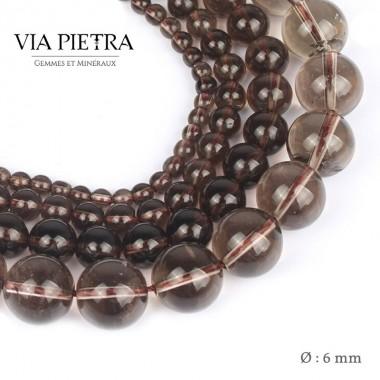Perles Quartz fumé création, perles Quartz fumée 6mm, perles en pierre naturelle