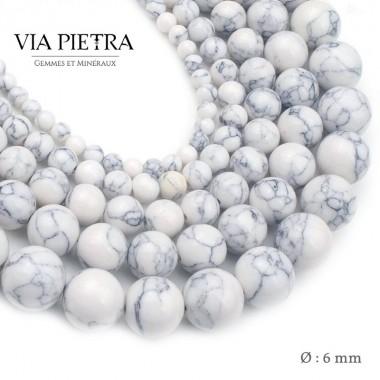 Perles Howlite création, perles Howlite blanc 6mm, perles en pierre naturelle
