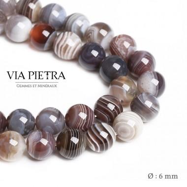 Perles Agate du Bostwana création, perles Agate grise bostwana blanc 6mm, perles en pierre naturelle