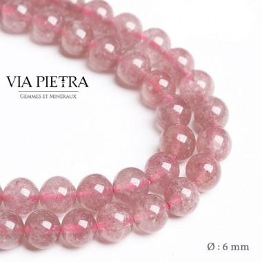 Perles Quartz fraise création, perles rouge quartz fraise 6mm, perles en pierre naturelle