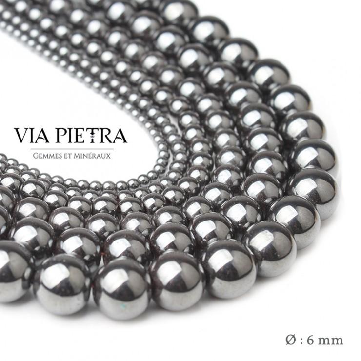 Perles Hématite création, perles hématite 6mm, perles en pierre naturelle