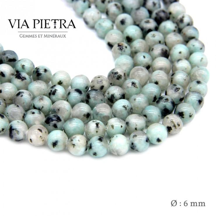 Perles Jaspe kiwi création, perles jaspe vert kiwi 6mm, perles en pierre naturelle