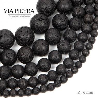 Perles Pierre de Lave création, perles Pierre de lave blanc 6mm, perles en pierre naturelle