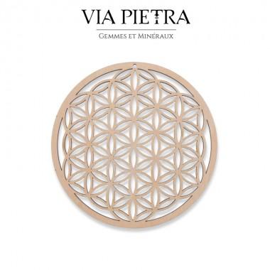 Plaque en bois géométrie sacrée, rechargement et purification des pierres minéraux, fleur de vie