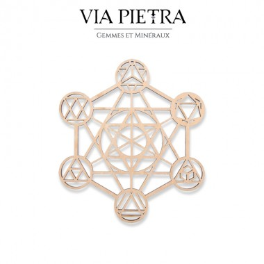 Plaque en bois géométrie sacrée, rechargement et purification des pierres minéraux, cube de Métatron