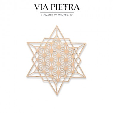 Plaque en bois géométrie sacrée, rechargement et purification des pierres minéraux, fleur de vie Sri Yantra
