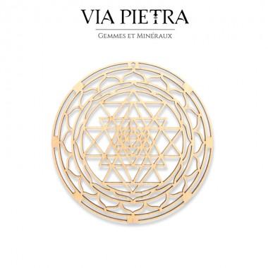 Plaque en bois géométrie sacrée, rechargement et purification des pierres minéraux, Sri Yantra Mandala